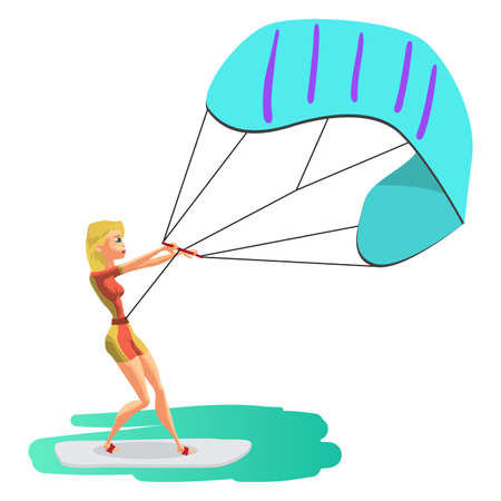 kiter: Woman drive at kite surfing. Girl windsurfing on water surface with air kite. Vector flat cartoon illustration on a isolated background