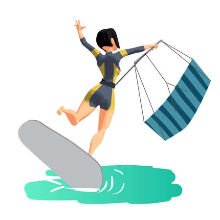 Woman drive at kite surfing. Back view. Girl loses her balance and falls. Vector flat cartoon illustration on a isolated background