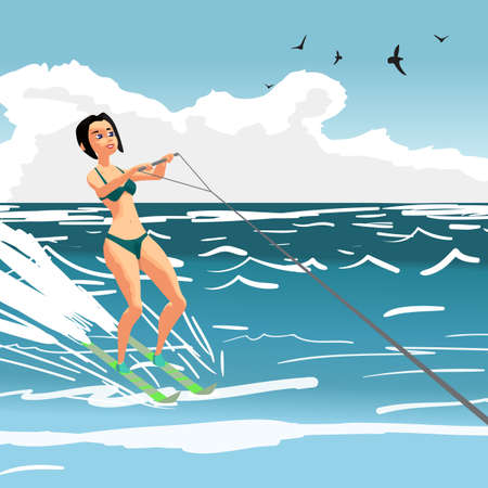 Beautiful girl in bikini on water ski. Young woman on summer vacation. Vector flat cartoon illustration