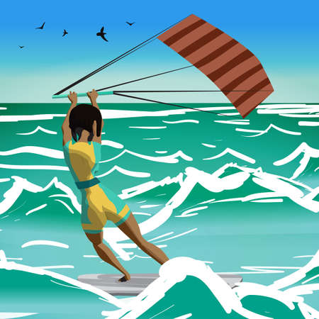 Afro woman drive at kite surfing. Back view. Girl windsurfing on water surface with air kite. Tropical sea summer landscape. Vector flat cartoon illustration Illustration