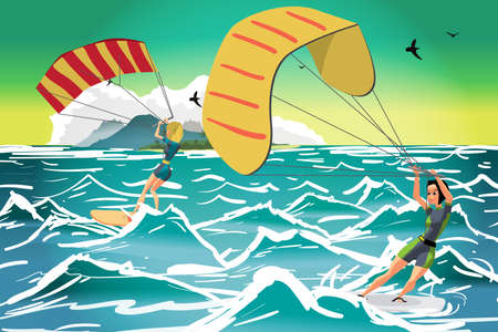 kiter: Women drive at kite surfing. Girls windsurfing on water surface with air kite. Tropical sea summer landscape. Vector flat cartoon illustration