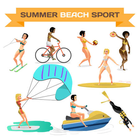 water skiing: Set of summer beach sports. Women are engaged in volleyball, diving, cycling, surfing, kite, water skiing, scooter. Flat cartoon isolated vector illustration Illustration