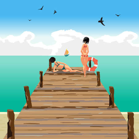 Two young women on a wooden pier on the beach looking at a sail in the distance. Flat cartoon vector illustration