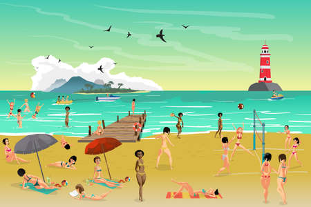 Sea landscape summer beach. Young women sunbathing on the sand. Vector flat cartoon illustration