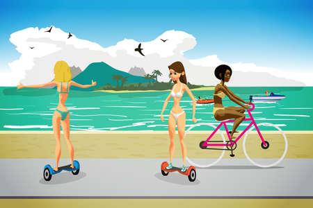 ビキニの若い女性ジャイロスコープとビーチ近くの道の自転車に乗る。ベクトル漫画のフラット実例