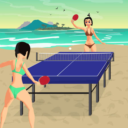 Young women in bikini play on the beach in table tennis. Girls in swimsuits with ping-pong rackets. Flat vector illustration Illustration
