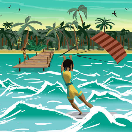 siervo: Afro woman drive at kite surfing. Back view. Girl windsurfing on water surface with air kite. Tropical sea summer landscape. Vector flat cartoon illustration Vectores