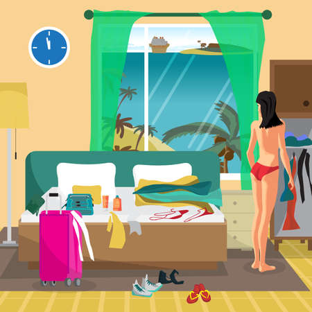 Young woman in a hotel room in a tropical resort is going to the beach. The girl dresses in her room and sorts things out. Flat vector cartoon illustration