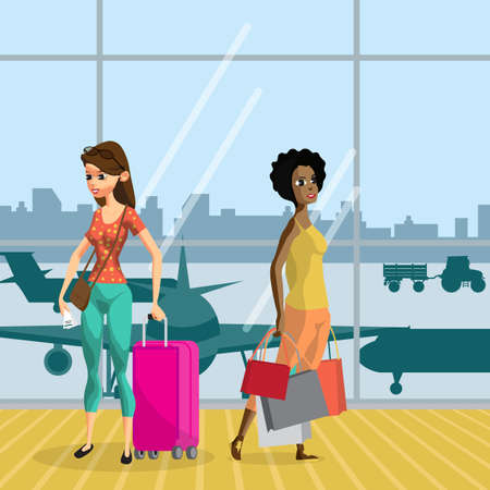 awaiting: Young women with things in the airport terminal awaiting the flight. Girls travel with luggage ready for the departure of the aircraft. Flat vector cartoon illustration