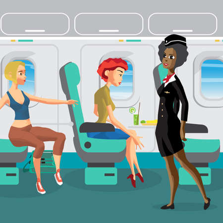 Passengers on the plane during the flight. Woman requests a flight attendant. Flat vector cartoon illustration