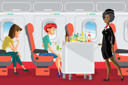 Passengers on the plane during the flight. Afro stewardess serving drinks to passengers on board of the aircraft. Flat vector cartoon illustration