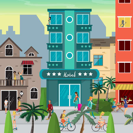 come back: Street resort town in the evening. People walk, come back from the beach, ride bicycles. Flat vector cartoon illustration