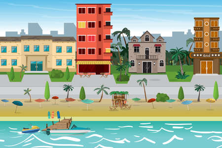 Street resort beach town with hotels. The first line of hotels in a tropical area near the beach. Flat vector cartoon illustration Illustration