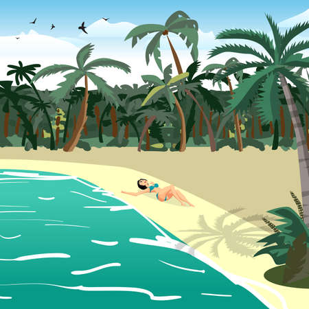 pacification: Sea landscape summer tropical private beach. Young woman in bikini sunbathing lying on sand alone. Vector flat cartoon illustration