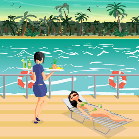 Young woman is sunbathing in a deckchair in a bikini on the deck of a liner. Summer vacation, tropical landscape, stewardess serves a cocktail. Vector flat cartoon illustration