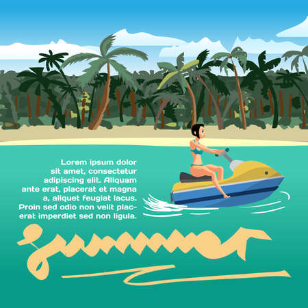 motorboat: Summer vacation concept background with space for text. Young woman in a swimsuit is floating on a scooter near a tropical beach. Vector cartoon flat illustration Illustration