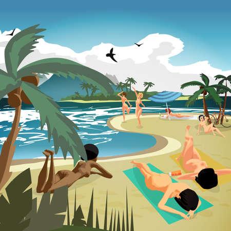 海の風景夏プライベートビーチ。若いヌードの女性は、日光浴、砂の上に横たわる。ベクトル フラット漫画イラスト
