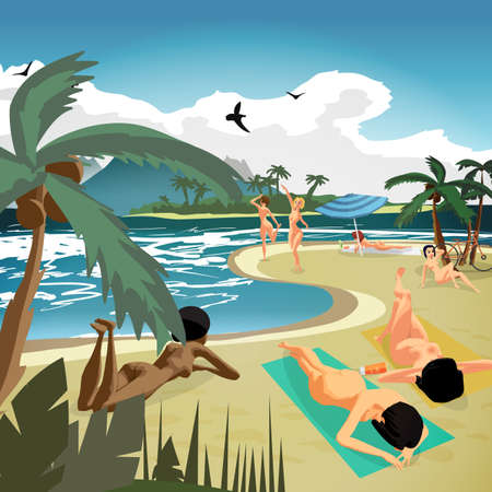 Sea landscape summer private beach. Young nude women sunbathing lying on sand. Vector flat cartoon illustration Çizim