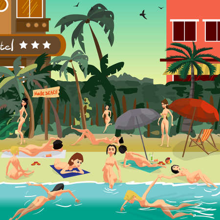 Tropical beach for nudists in the resort town with hotels. Women without clothes sunbathing on the beach. Flat vector cartoon illustration Çizim