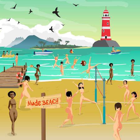 L'été du paysage de la mer avec la plage nue. Jeunes femmes nues qui bronzent sur le sable et jouent au volleyball. Vector illustration de dessin animé plat