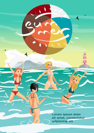 volley: Summer vacation concept background with space for text. Women in a bikini play volleyball in the sea. Flat cartoon vector illustration Illustration