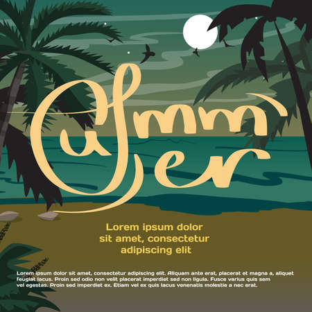 beach sunset: Summer vacation concept background with space for text. Summer beach landscape at night. Silhouettes of palm trees, chaise in moonlight. Vector flat cartoon illustration Illustration