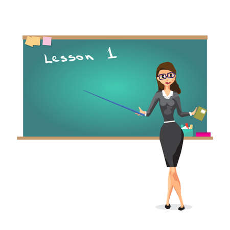 Young female teacher on lesson at blackboard in classroom. Lecturer in glasses with a pointer points to the board. Vector isolated flat cartoon illustration