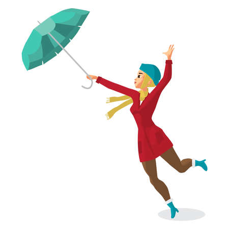 Young woman holding her umbrella in the wind. Illustration