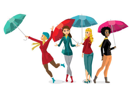 bad weather: Set of young women holding her umbrella. Girls in the fall during bad weather. Flat cartoon vector illustration Illustration