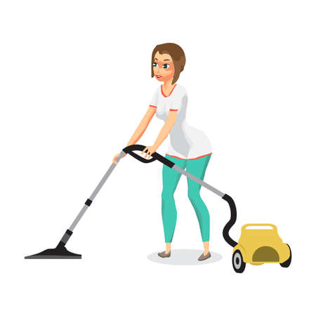Housewife vacuuming home with a vacuum cleaner. Young woman doing domestic work. Flat cartoon vector illustration