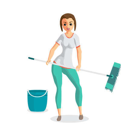 Young woman housewife washes a floor mop. Girl doing domestic work. Flat cartoon vector illustration