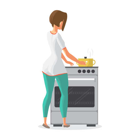 Young woman housewife is cooking soup on the stove. The girl is cooking food in a saucepan. Back view. Flat cartoon vector illustration Stock Photo