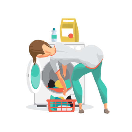 Young woman housewife washes clothes in the washing machine. The girl takes out the washed laundry. Flat cartoon vector illustration