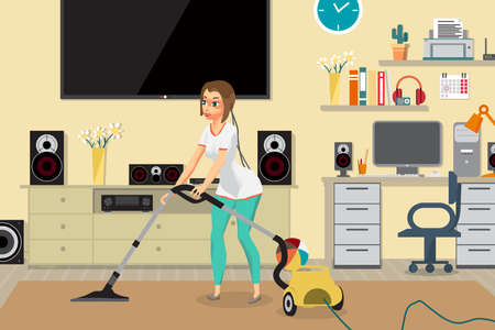 Housewife vacuuming home with a vacuum cleaner in the room, Young woman doing domestic work in Flat cartoon illustration