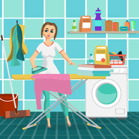 dryer: Woman housewife iron clothes on an ironing board in bathroom. Flat cartoon vector illustration