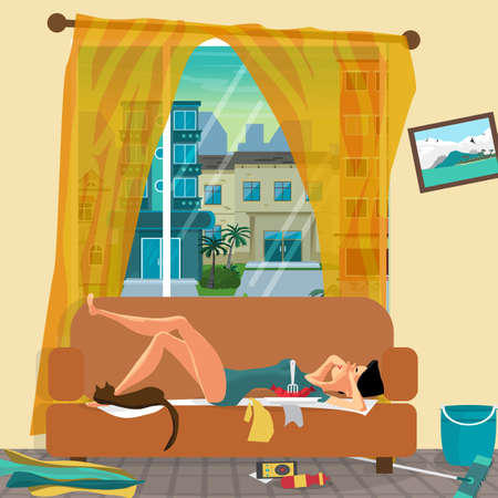 Young lazy woman is lying on the couch with her eyes closed. Lazy wife and mess in the room. Flat cartoon vector illustration