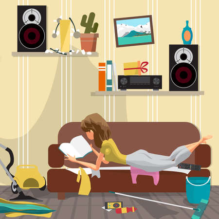 Young lazy woman is lying on the couch and reading a book. Lazy wife and mess in the room. Flat cartoon vector illustration Illustration