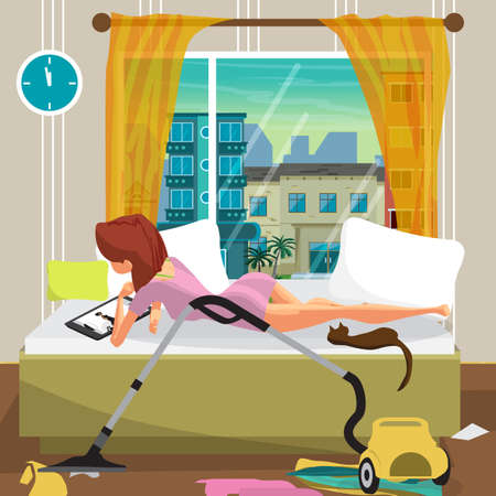 Young lazy woman lies on the bed and looks at the movie on the tablet. Lazy housewife and mess in the bedroom. Flat cartoon vector illustration Illustration
