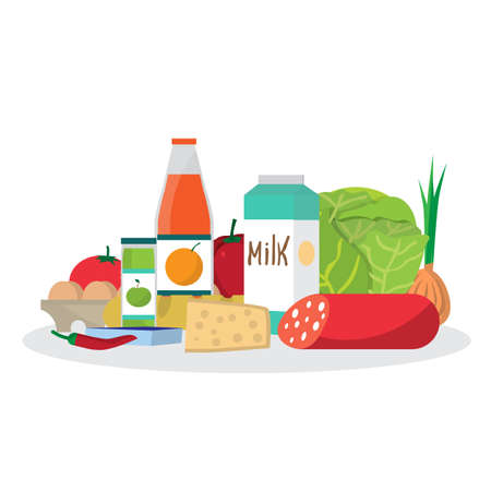 provision: Shopping from the grocery store. Eating from the supermarket. Bread, milk, vegetables, juices, sausage, cheese and more. Flat cartoon vector illustration Illustration