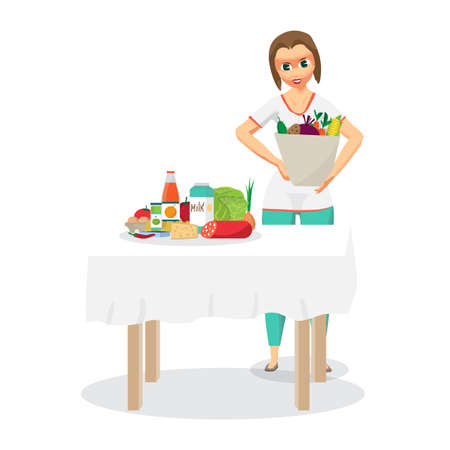 came: Young woman housewife came from the supermarket and unloaded the purchased food on the table. Flat cartoon vector illustration
