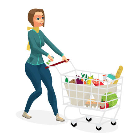 Young woman housewife in a supermarket with a full shopping cart of food purchased. Girl rolls a trolley with products. Flat cartoon vector illustration Vectores