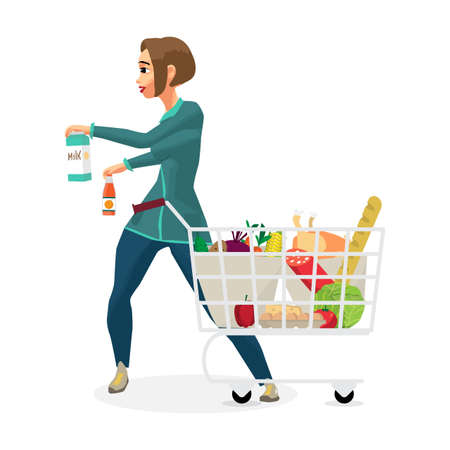 Young woman housewife in a supermarket with a full shopping cart of food purchased. Girl takes the goods and puts them in a cart. Flat cartoon vector illustration Vectores