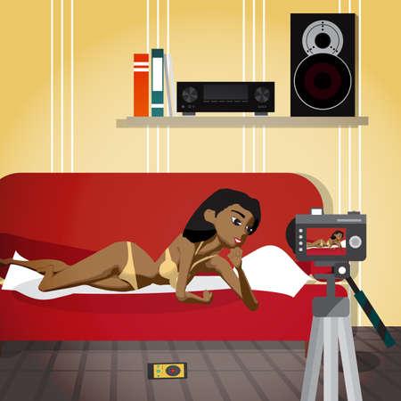 A mulher afro nova em seu roupa interior conduz uma transmissão erótica. A garota no sexo virtual. Ilustração em vetor plana dos desenhos animados