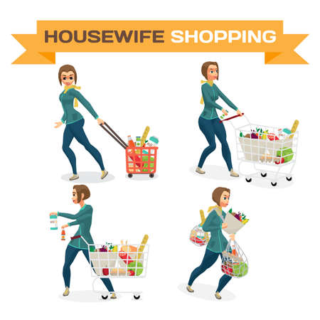 Set of young women housewife in a supermarket with a full shopping cart of food purchased. Flat cartoon vector illustration