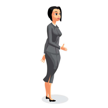 impression: Standing business woman stretching her open hand offering handshake. Welcoming and ready for communication. Flat vector illustration isolated on white background
