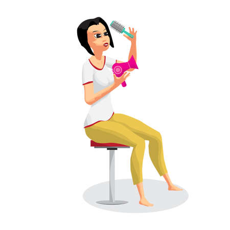 Woman combing her hair and using a hair dryer vector
