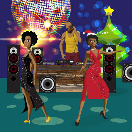 Vector holiday party invitation disco style.