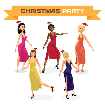 Set of beautiful sexy women dress dancing on night party. Vector flat cartoon illustration isolated