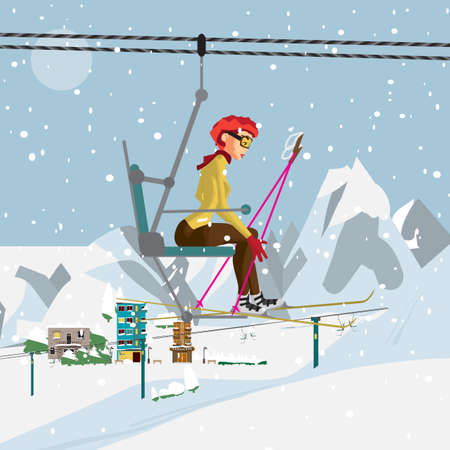 Young woman with skis is climbing the ski lift to the top of the mountain. Flat cartoon vector illustration