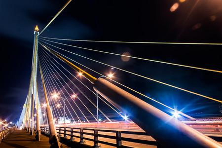 rope bridge: Rope bridge at night Stock Photo